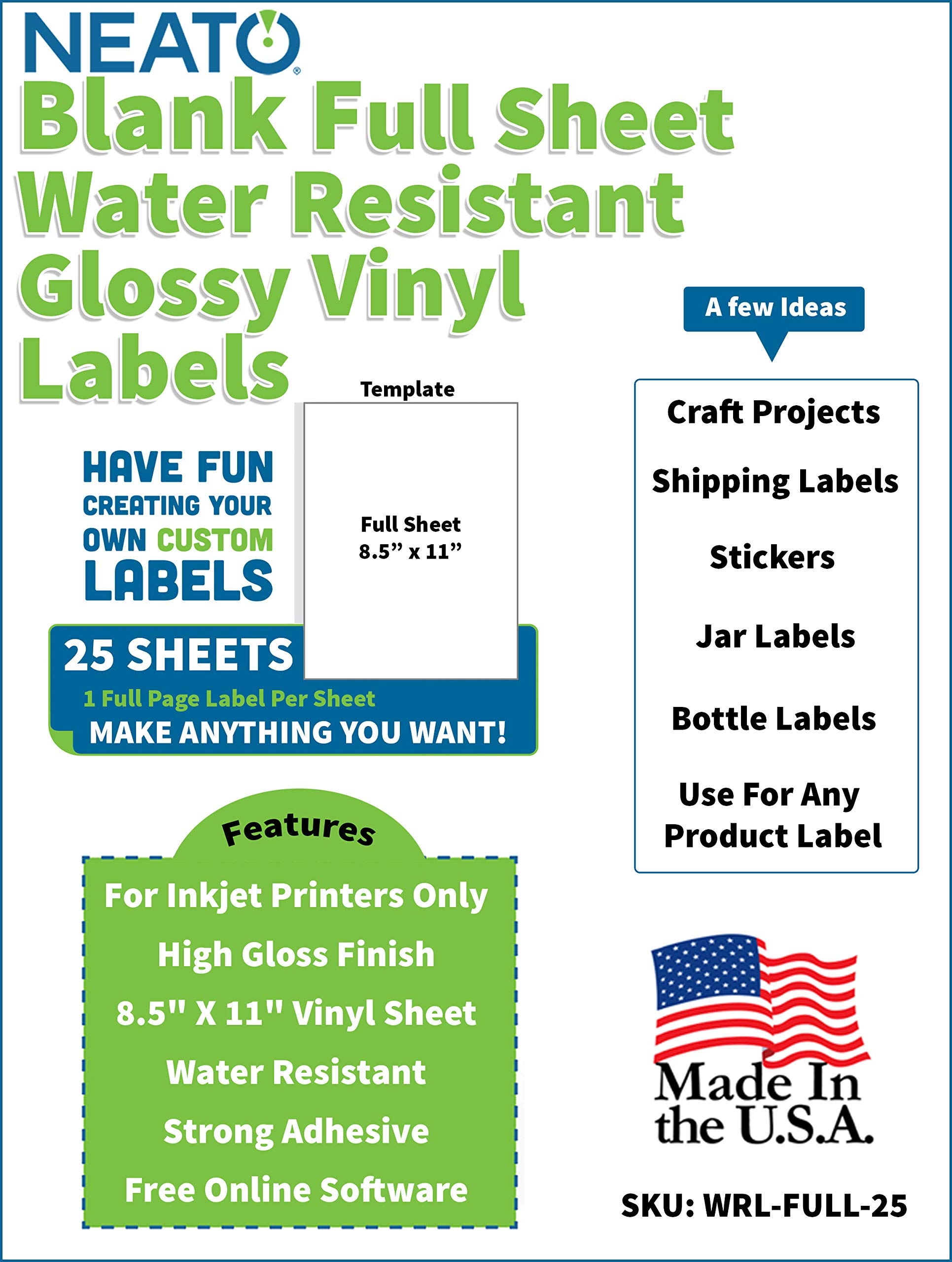Printable Glossy Vinyl Sticker Paper - 8.5'' X 11'' Blank Custom Label Sticker Sheet - Water Resistant - Tear Free Labels - 25 White Sheets for Inkjet Printers by Neato by Neato