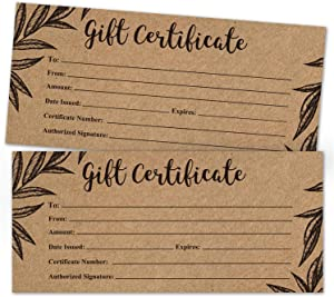 25 Rustic Blank Gift Certificate Cards, Gift Vouchers for for Holiday, Christmas, Birthday Holder, Small Business, Restaurant, Beauty Hair Salon, Wedding Bridal, Baby Shower, Size 4 x 9 Inch.