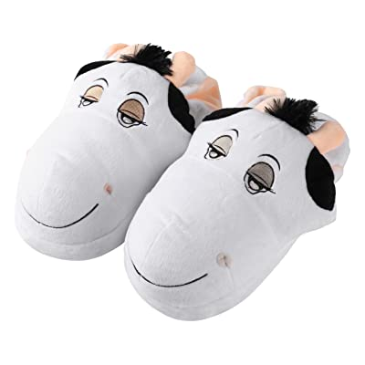 Aerusi Sleepy Men or Women's Adult Animal Plush Slippers, Size 8-12 inch, White Cow: Home & Kitchen
