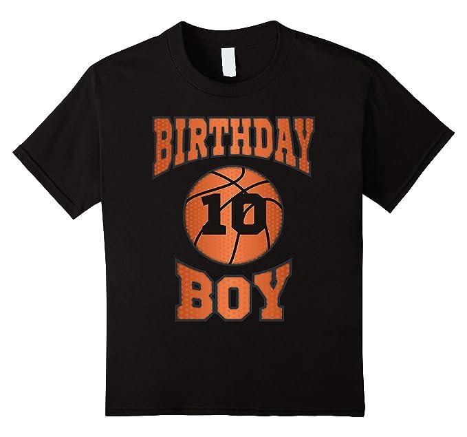 Kids 10th 10 Ten Years Old Happy Birthday Boy Basketball T Shirt 4 Black