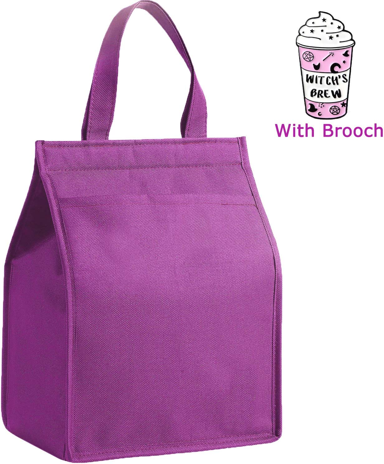 Insulated Lunch Bag Tote Bag Lunch Bento Cooler Bags Keep Freezer Cold with Front Pocket & Stylish Pin Brooch for Women Men