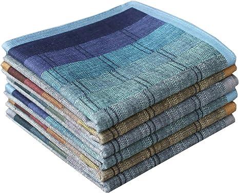 Mens Luxury Plaid Style Soft Cotton Handkerchiefs Pack
