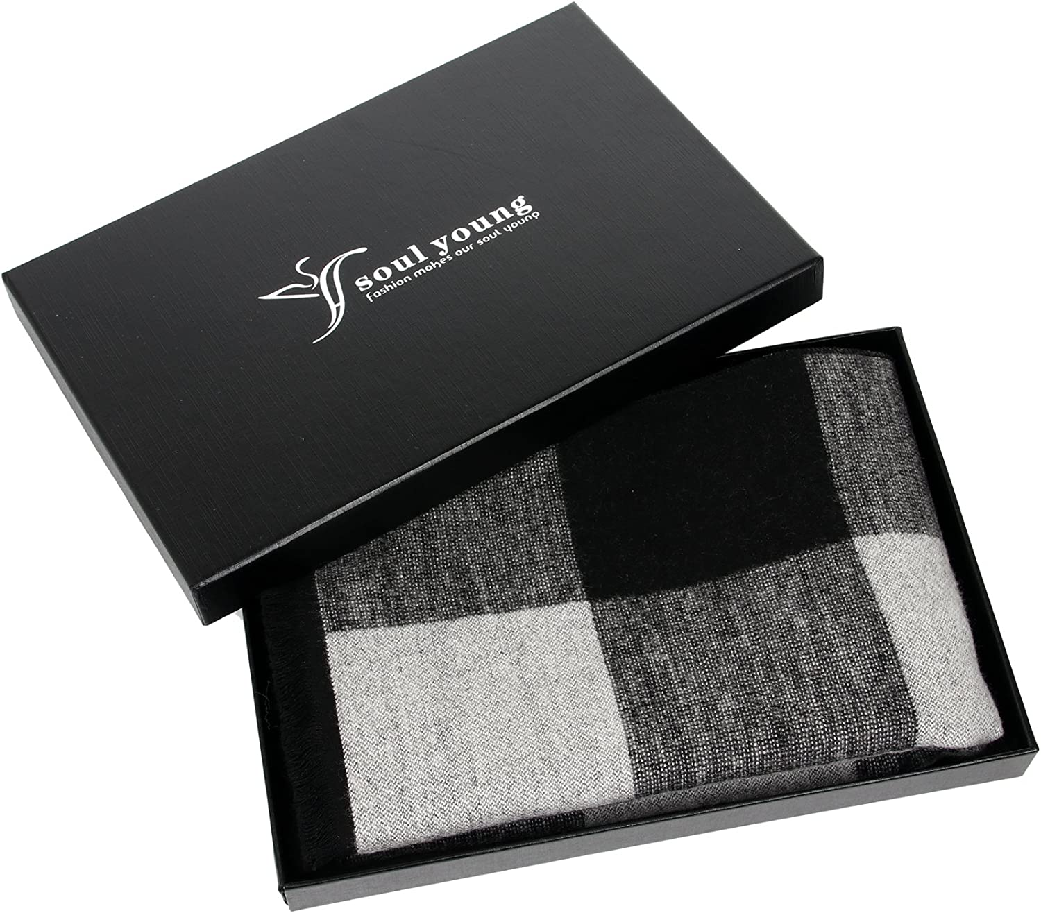 Warm Fringe Plaid Scarves With Luxurious Gift Box Long Cotton Scarf for Men