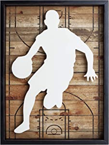 "NIKKY HOME 12"" x 16"" Basketball Player Wooden Framed Wall Art Decor"