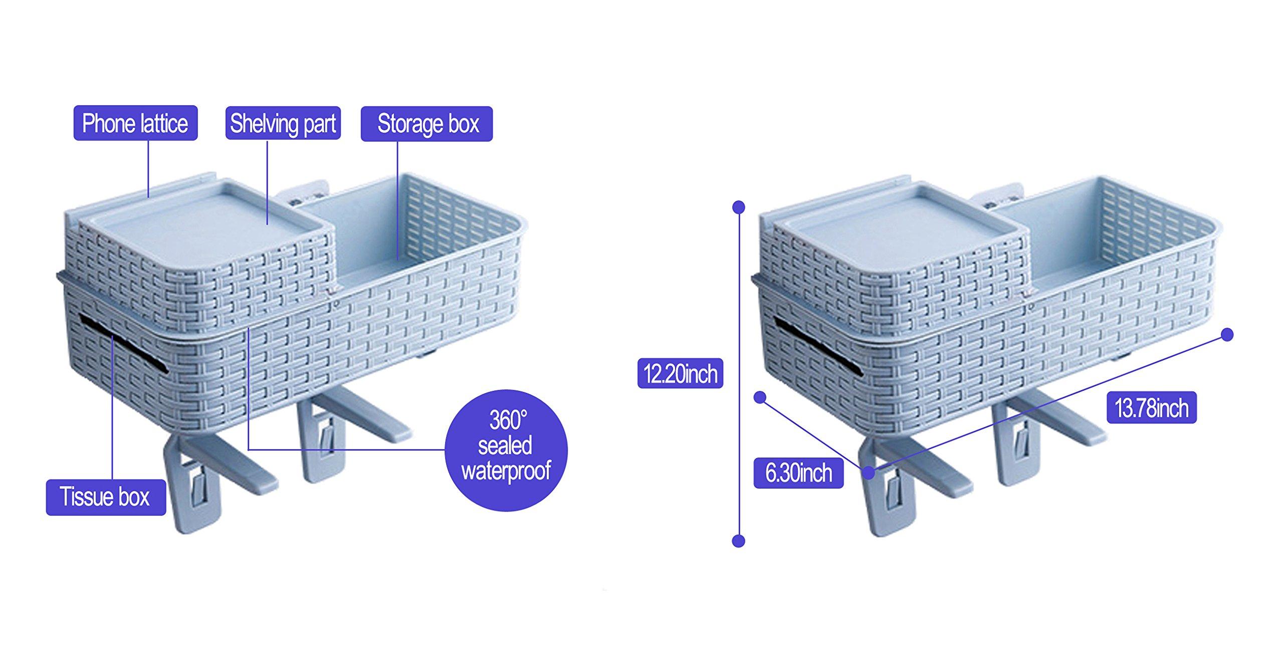 Acstar Multi-functional Suction Wall Toilet Rack Bathroom Hanging Storage Rack Kitchen Storage Basket Desktop Storage Basket Exempt from Punching Waterproof (Light blue) by Acstar (Image #3)
