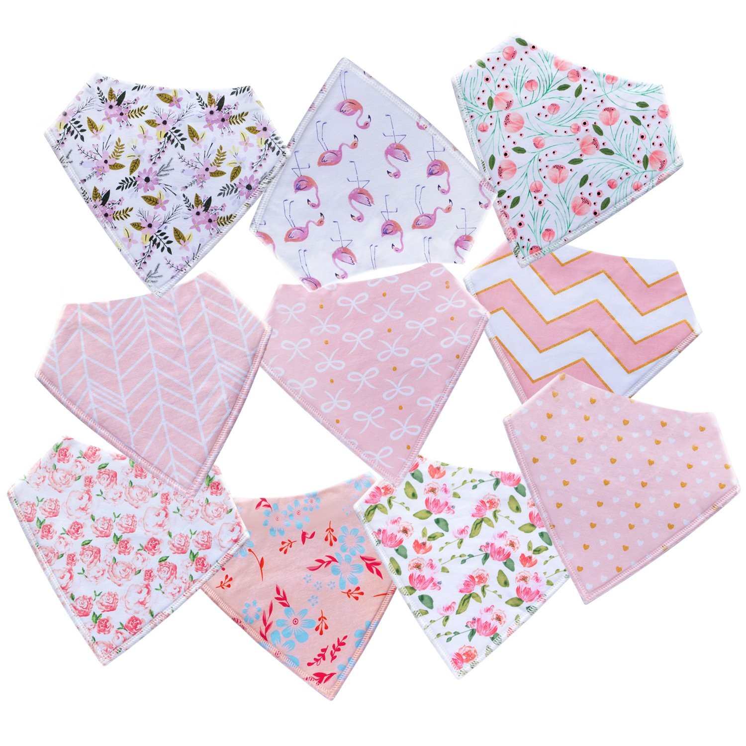 10-Pack Baby Girl Bandana Drool Bibs for Drooling and Teething by MiiYoung by MiiYoung (Image #8)