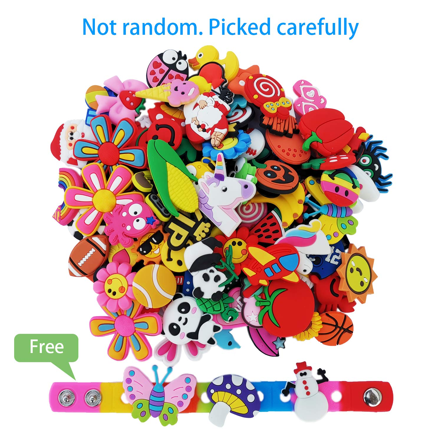 HxCharms 100 125pcs Shoe Charms Fits for Croc Shoes /& Wristbands