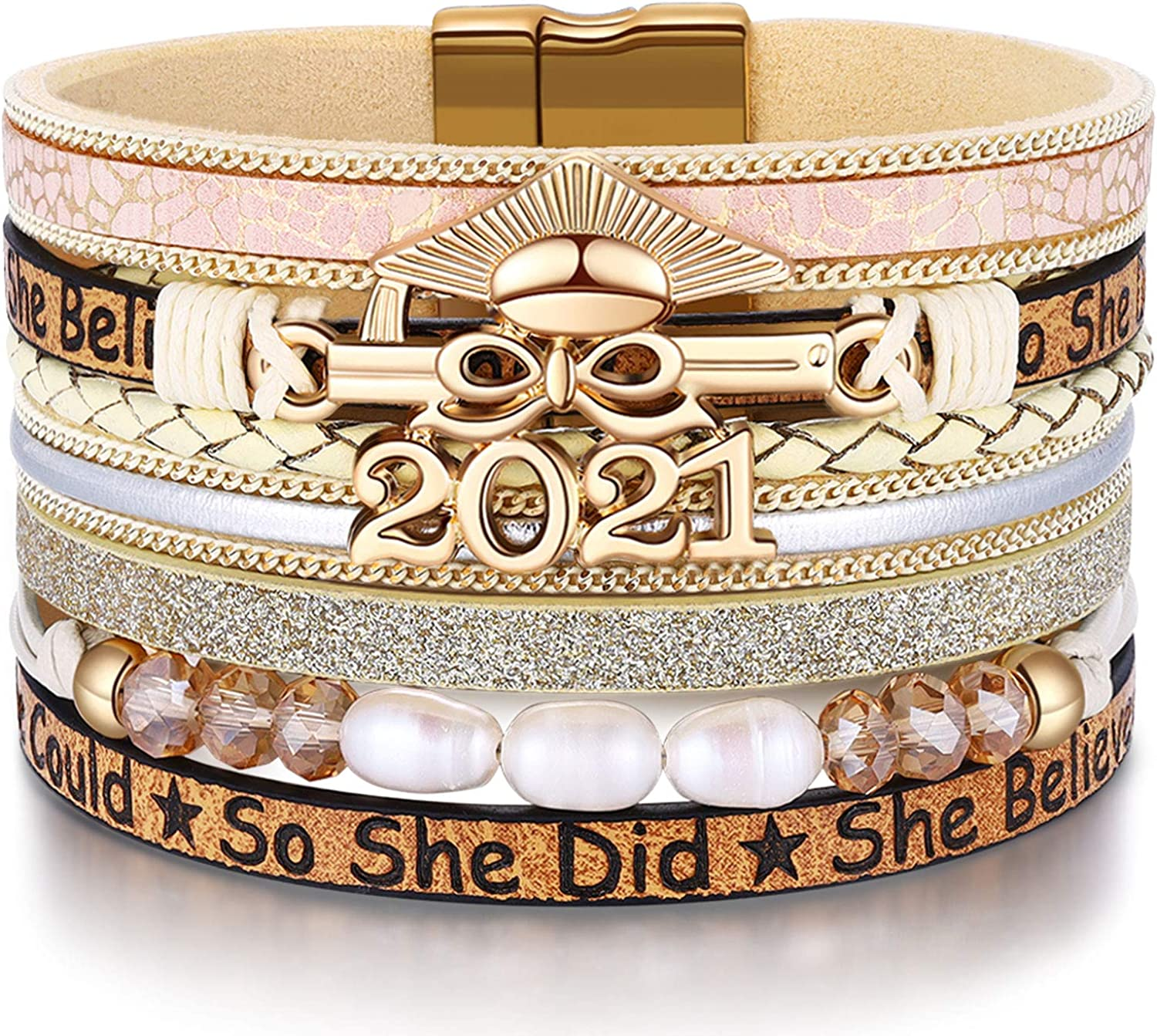 To Daughter Cuff Bangle Bracelet Gift Love Mom Dad To Daughter For 2021 Birthday Xmas Wedding School College University Graduation Gifts