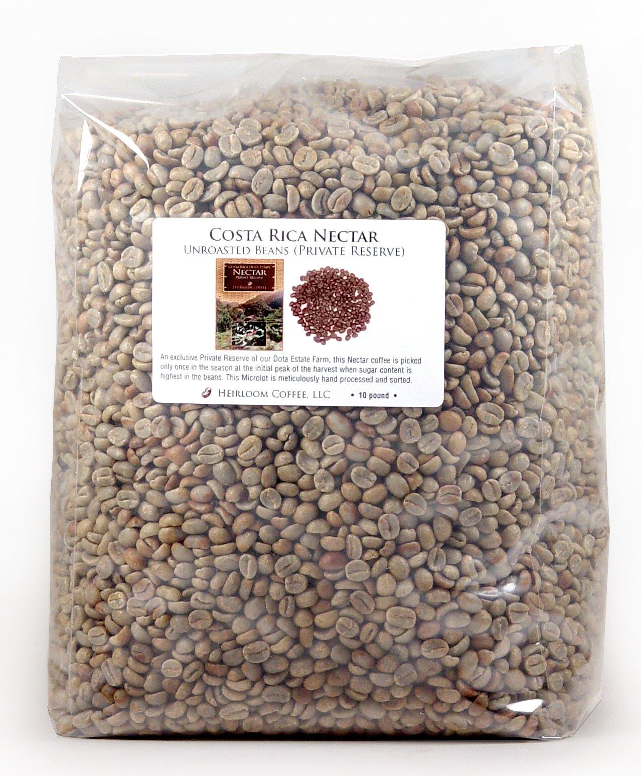 Costa Rica Dota Nectar, Green Unroasted Coffee Beans (10 LB Nectar) by Heirloom Coffee LLC