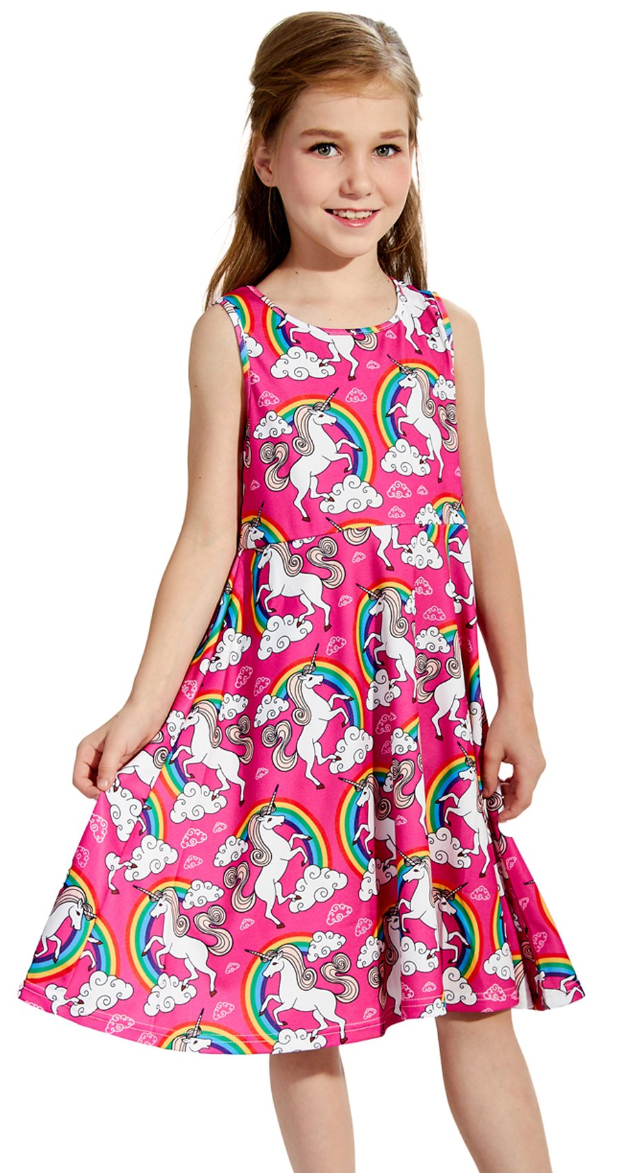 Juniors Dresses, Unicorn Dress Girls, Unicorn Gifts for Girls,Cloud Rainbow Sleeveless Dress for Little Girls Rose red (Unicorn Dress,M)