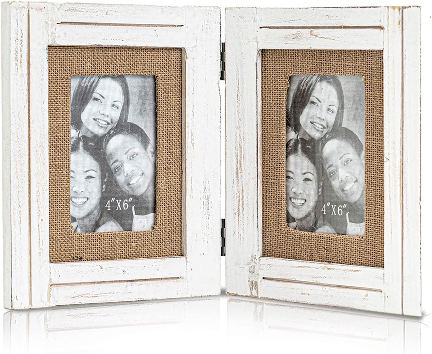 Whitewash Rustic 4x6 Double Picture Photo Folding Wood Frames, Farmhouse photo holder Tabletop for Home Office Decor(White)
