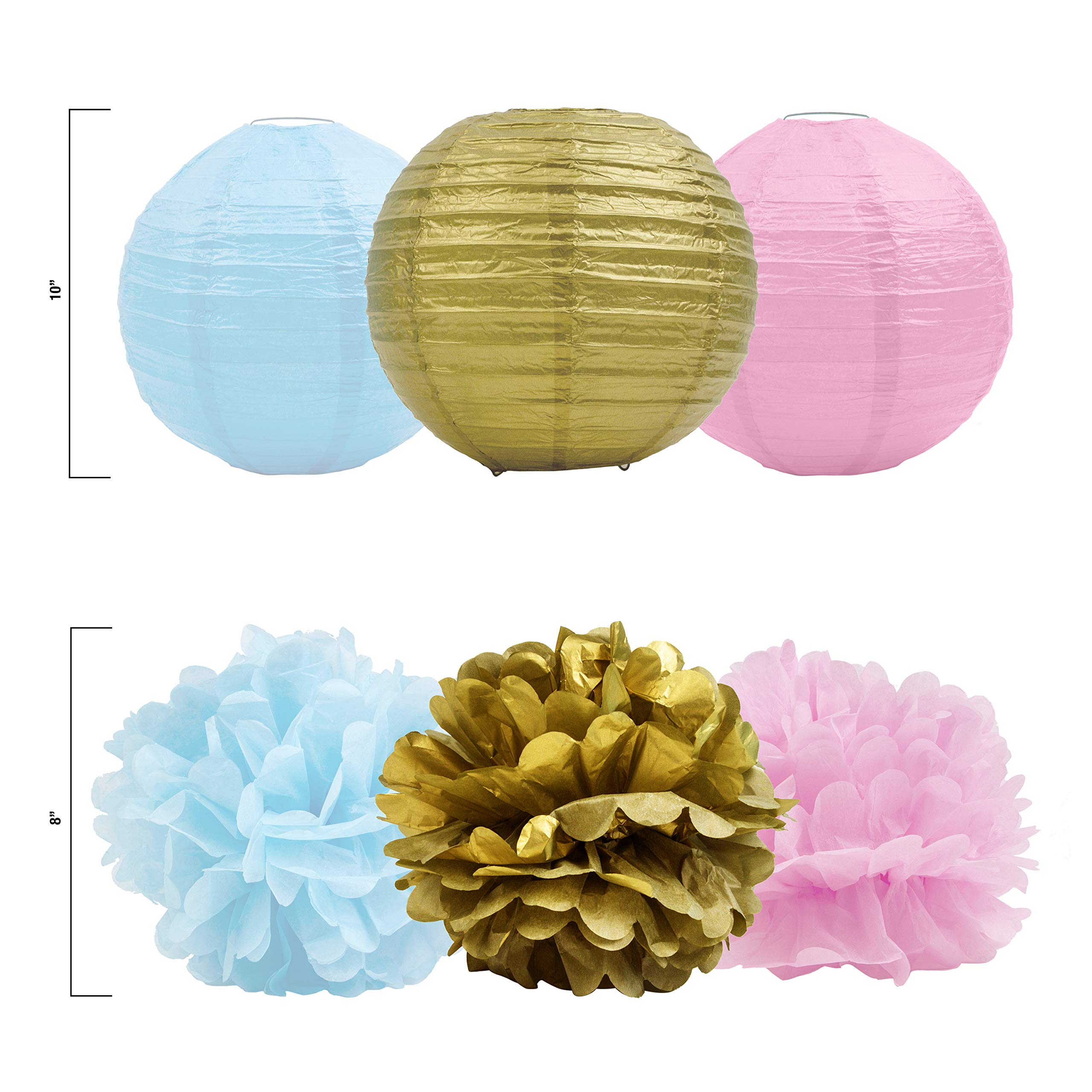 Gender Reveal Party Supplies (75 Pieces) with Photo Props, 36 Inch Reveal Balloon and Sash - Premium Baby Shower Decorations Set - Confetti Balloons, Boy or Girl Banner, Paper Lanterns and Pom Poms by FutureSquared (Image #4)