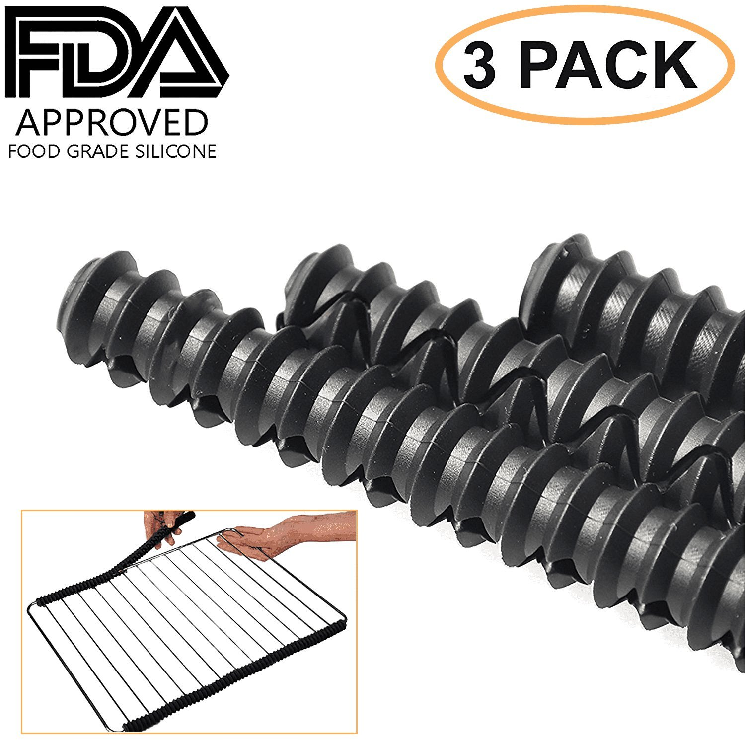 Kettio - Silicone Oven Rack Shield (Set of 3) - Certified BPA Free, FDA Approved, heat resistant silicone - protects against burns and scars - Black