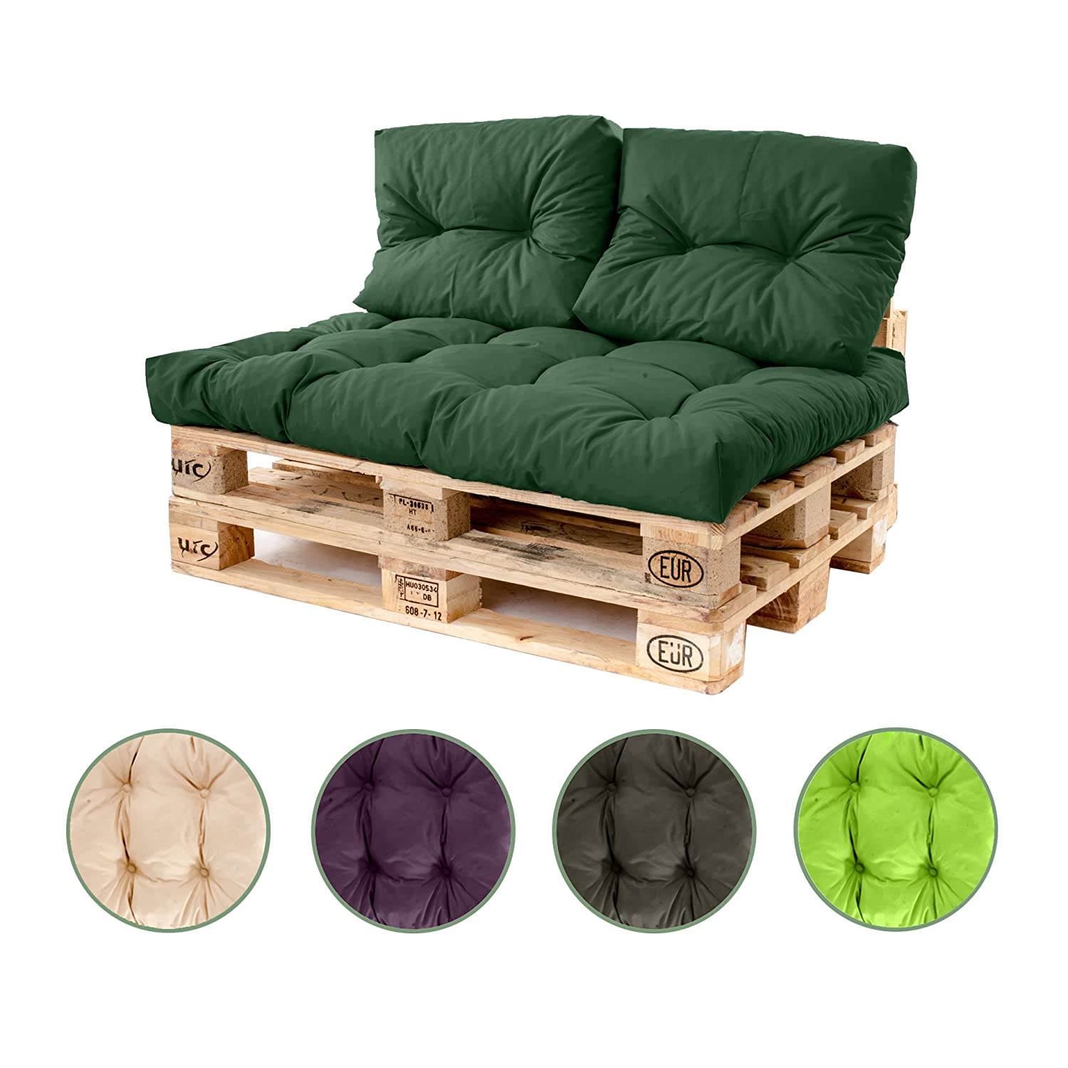 Shopisfy Outdoor Tufted Foam Pallet Cushion ONLY in Water Resistant Fabric Standard Euro Pallet, Small Back Cushion - GREEN