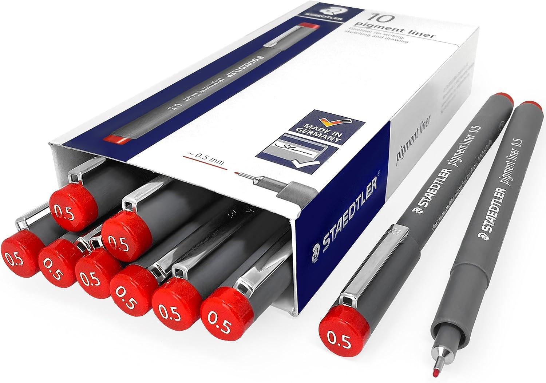 Red Pack of 10 Staedtler 308 Pigment Liner Fineliner 0.5mm
