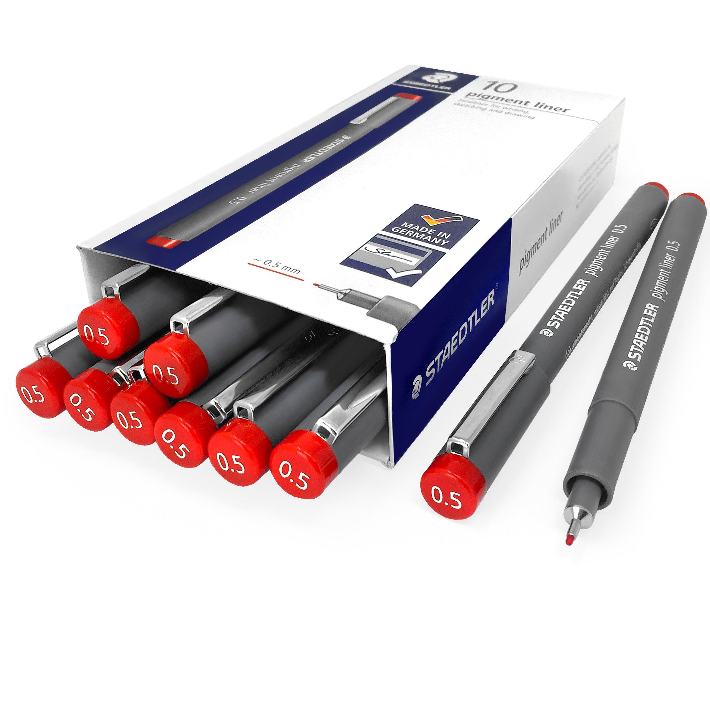 Staedtler 308 Pigment Liner Fineliner - 0.5mm - Pack of 10 - Red