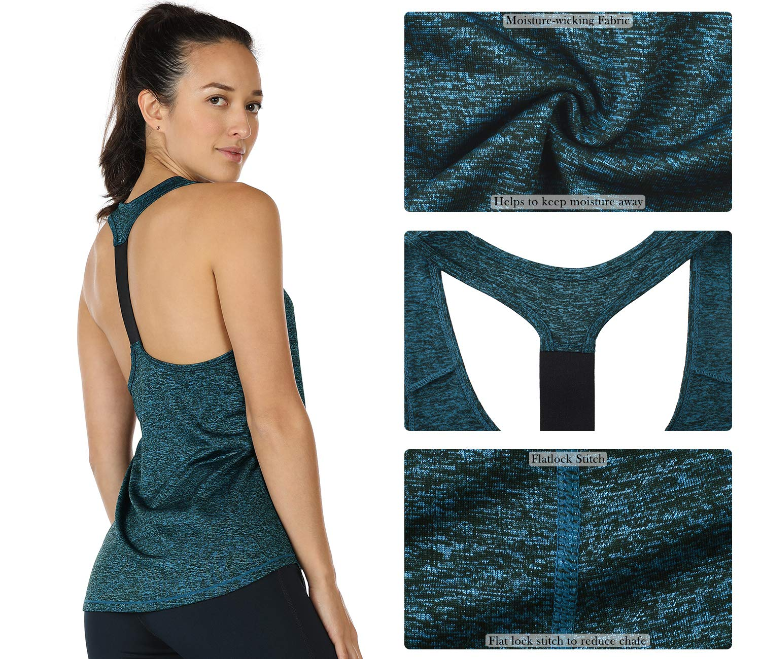 icyzone Activewear Workout Yoga Fitness Sports Racerback Tank Top T-Back Women(S, Royal Blue)
