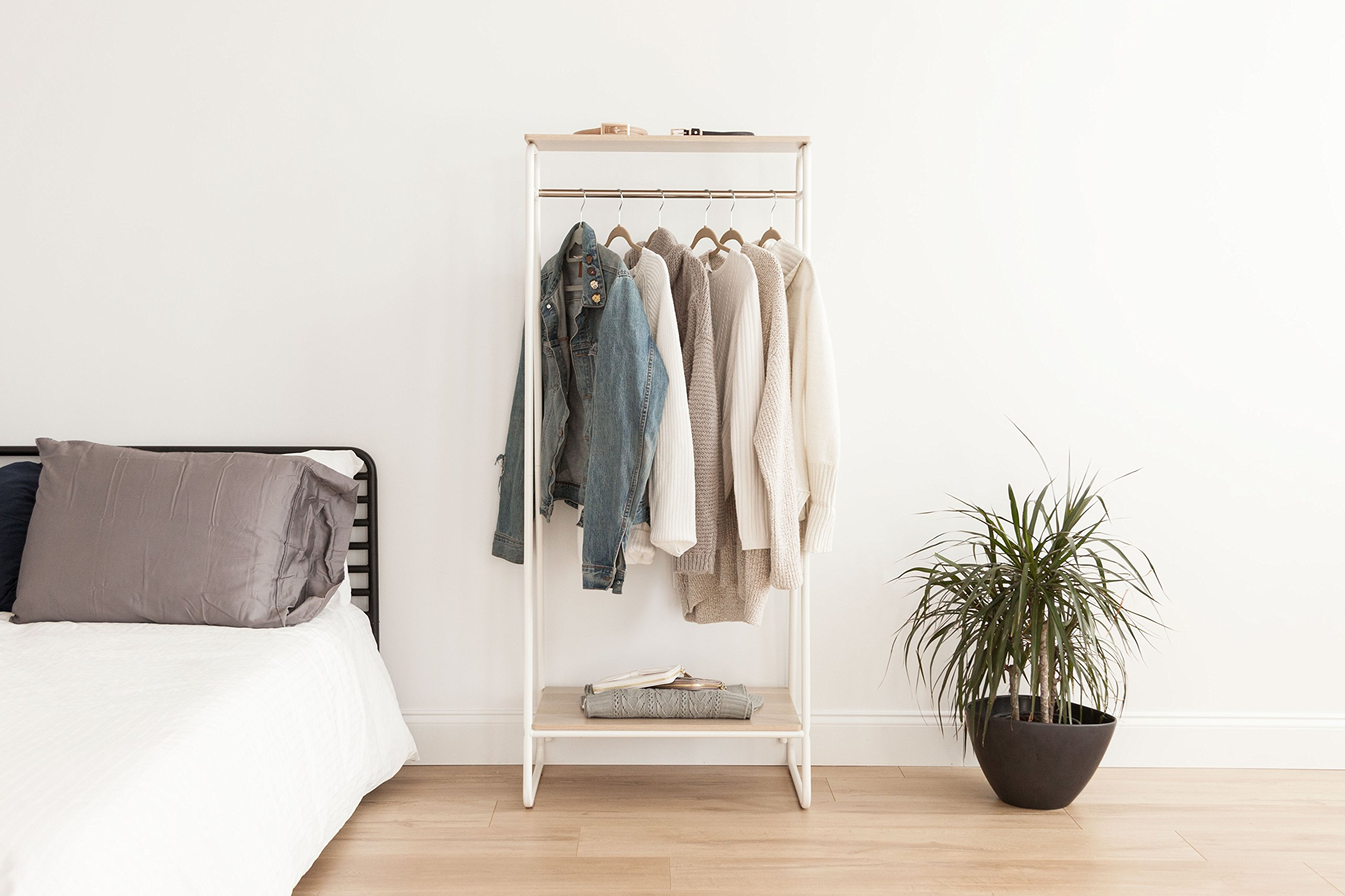 IRIS Metal Garment Rack with 2 Wood Shelves, White and Light Brown by IRIS USA, Inc. (Image #4)