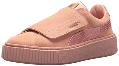 673f8a229414 PUMA Women s Platform Strap Satin En Pointe Wn Sneaker Peach Beige-Rose  Gold