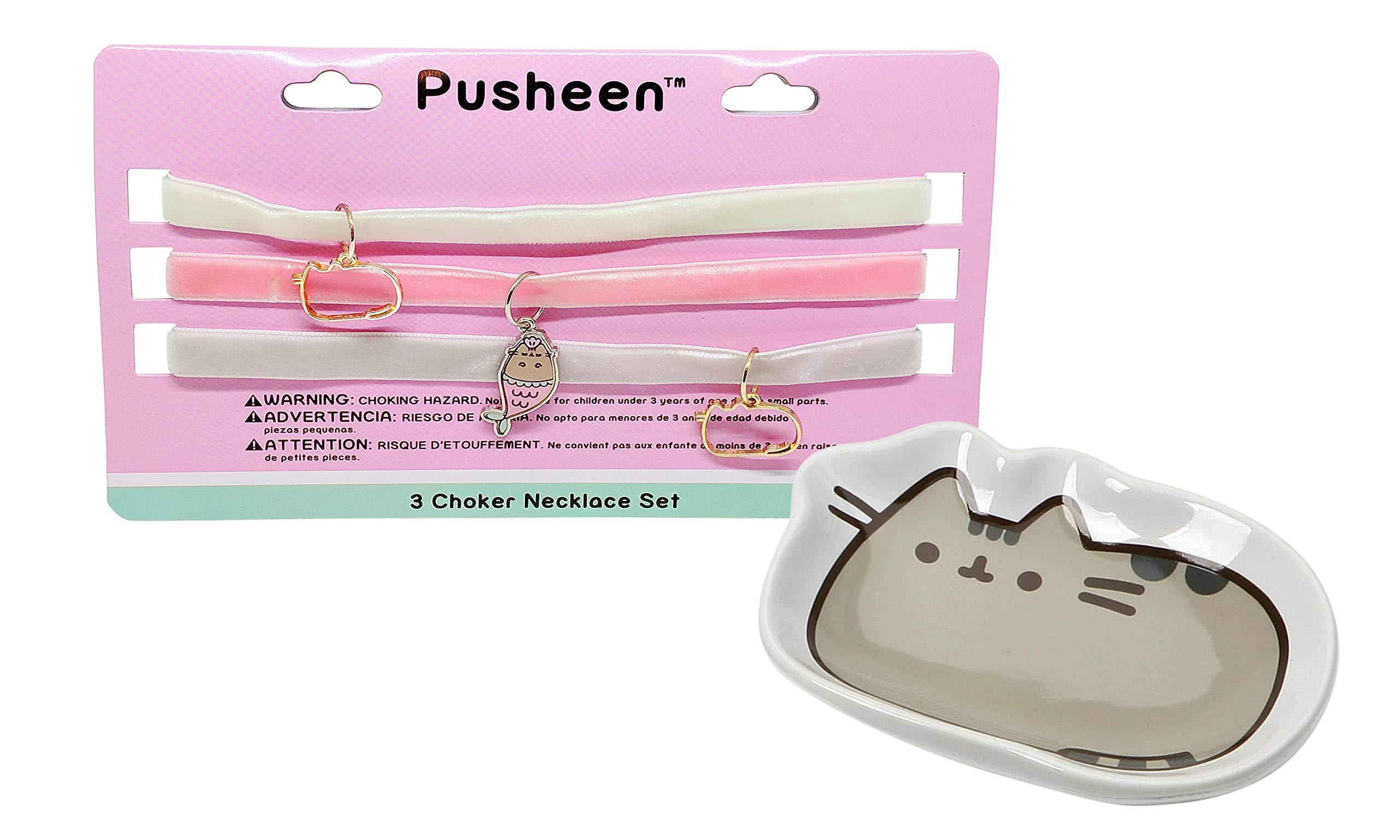 Pusheen Classic Tray Velvet Charm Choker Necklace Set