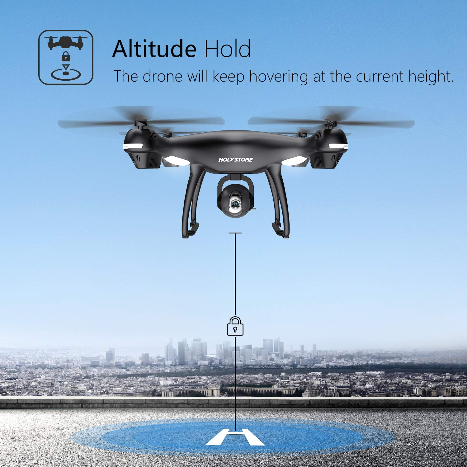 Follow Me Adjustable Wide-Angle HD 720P WiFi Camera Altitude Hold Holy Stone GPS RC Drone with FPV Camera Live Video and Auto Return Home for Adults Beginners Quadcopter with 15 Mins Flight Time
