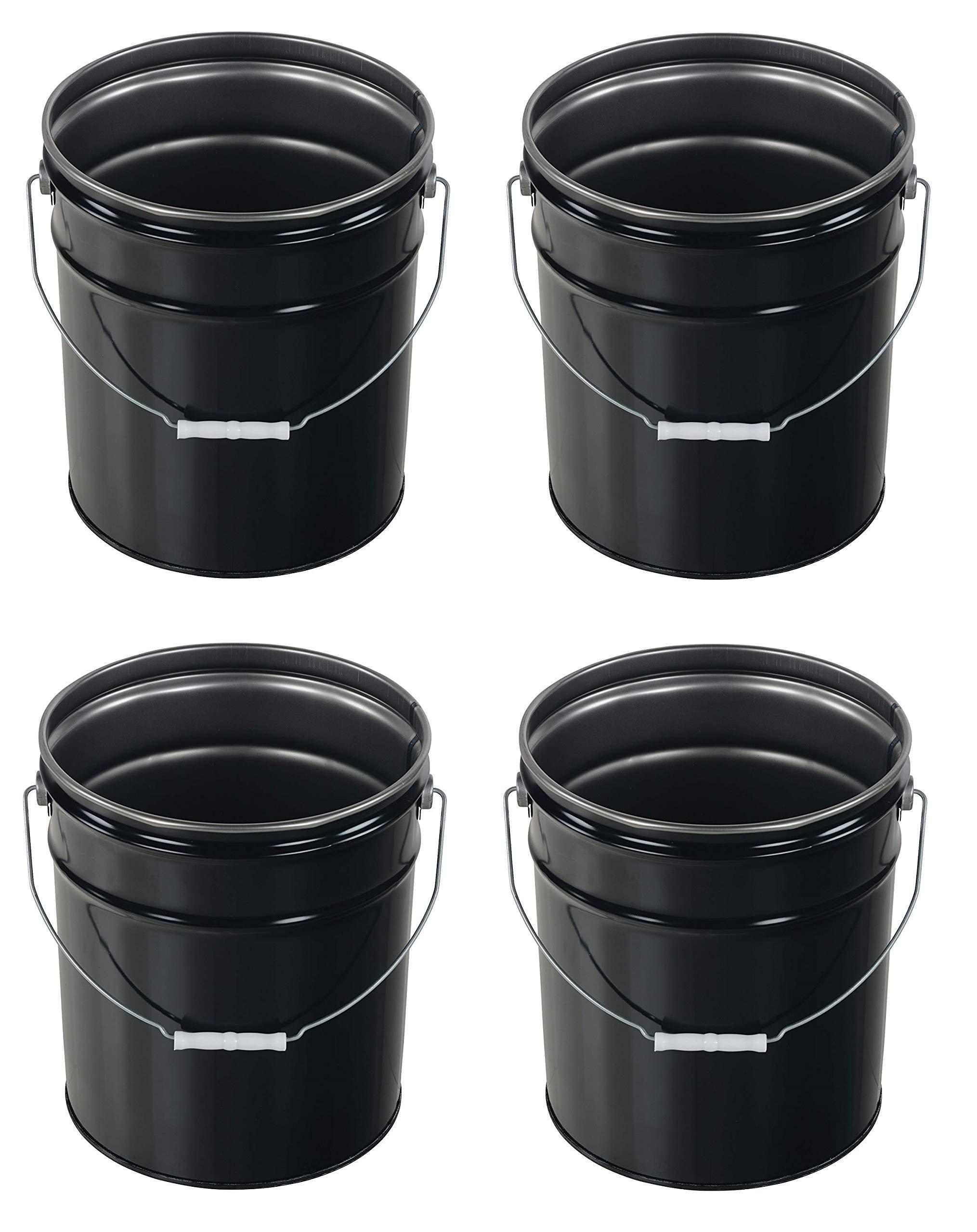 Vestil Pail-STL-RI-UN Steel Pail with Handle, 5 Gallon Capacity, Black (Pack of 4)