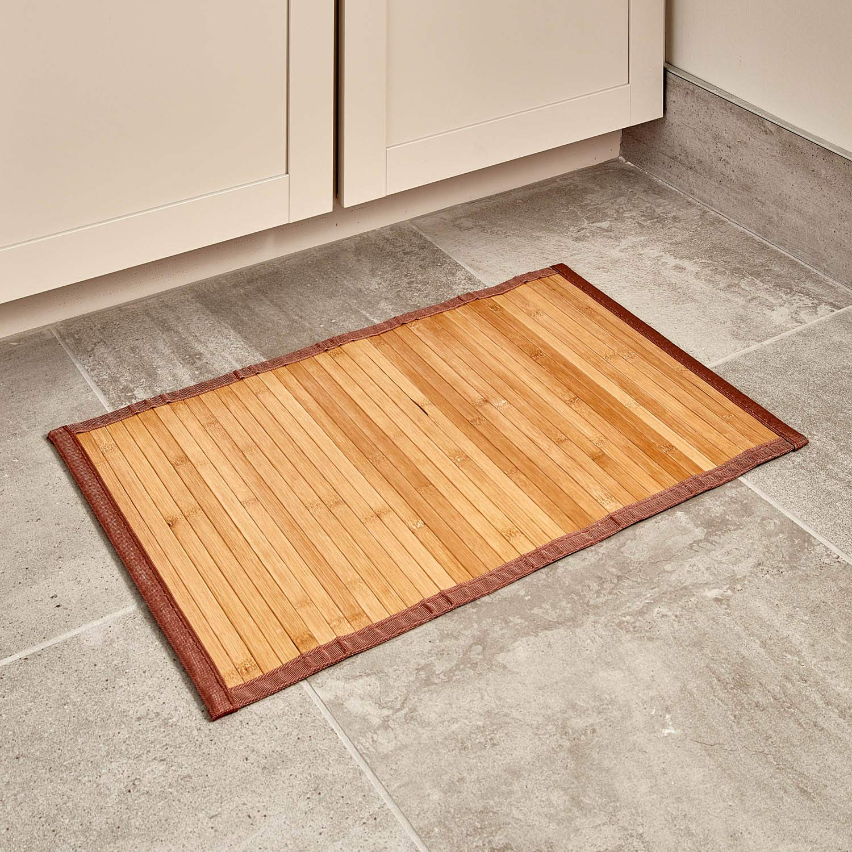 "iDesign Formbu Bamboo Floor Mat Non-Skid, Water-Resistant Runner Rug for Bathroom, Kitchen, Entryway, Hallway, Office, Mudroom, Vanity, 17"" x 24"", Natural Beige"