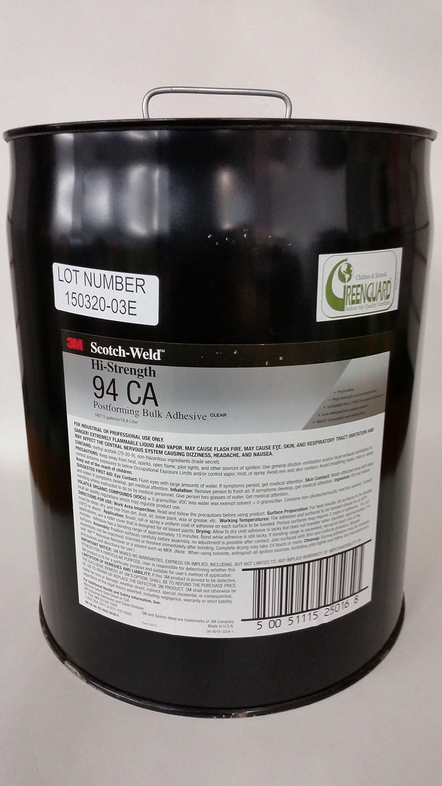 3M(TM) Hi-Strength Postforming 94 CA Adhesive Clear Low VOC, 5 gal pail