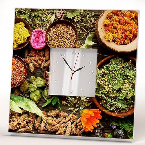 Especias Hierbas Flores Secas Herbals Reloj De Pared Espejo Impreso ...