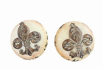 Kommodenknöpfe amazon de minawum kommodenknöpfe 2er set lilie ecru möbelknopf