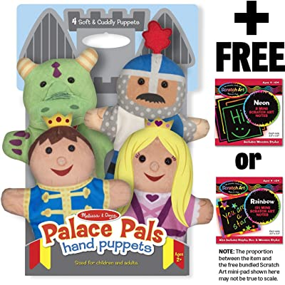Melissa & Doug Palace Pals 4-Piece Hand Puppets Gift Set + Free Scratch Art Mini-Pad Bundle [90827]: Toys & Games