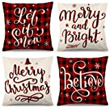 YGEOMER Christmas Pillow Covers 18×18 Inch Set of 4 Farmhouse Black and Red Buffalo Plaid Pillow Covers Holiday Rustic…