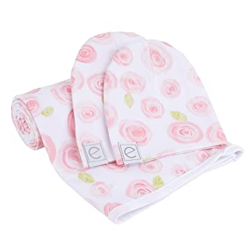 634248785 Cotton Knit Jersey Swaddle Blanket and 2 Beanie Baby Hats Gift Set ...