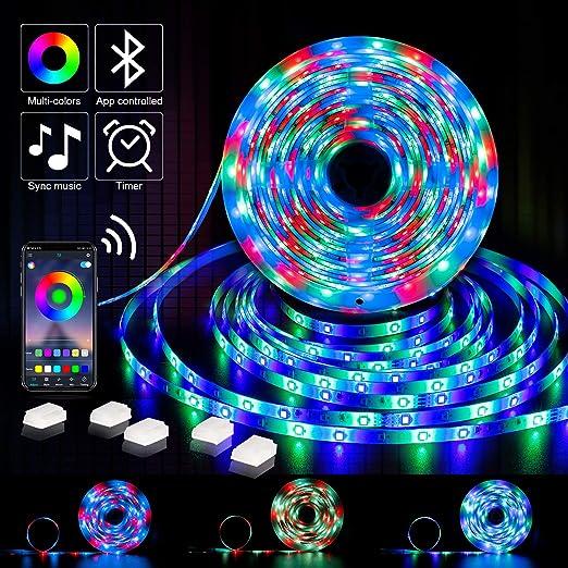 Led Strip Lights Bluetooth Music Led Light Strip 32 8ft Rgb Led Lights App Controlled Smd 2835 Dc 12v Led String Lights For Room Party