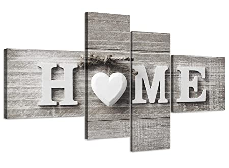Wallfillers Large Shabby Chic Home Quote   Grey Canvas Wall Art Picture    Split 4 Panel