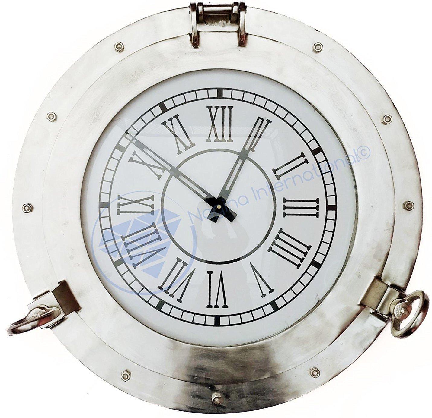 Large Aluminum Nickel Plated Wall Clock   Porthole Pirate's Gifts   Nagina International (20 Inches)