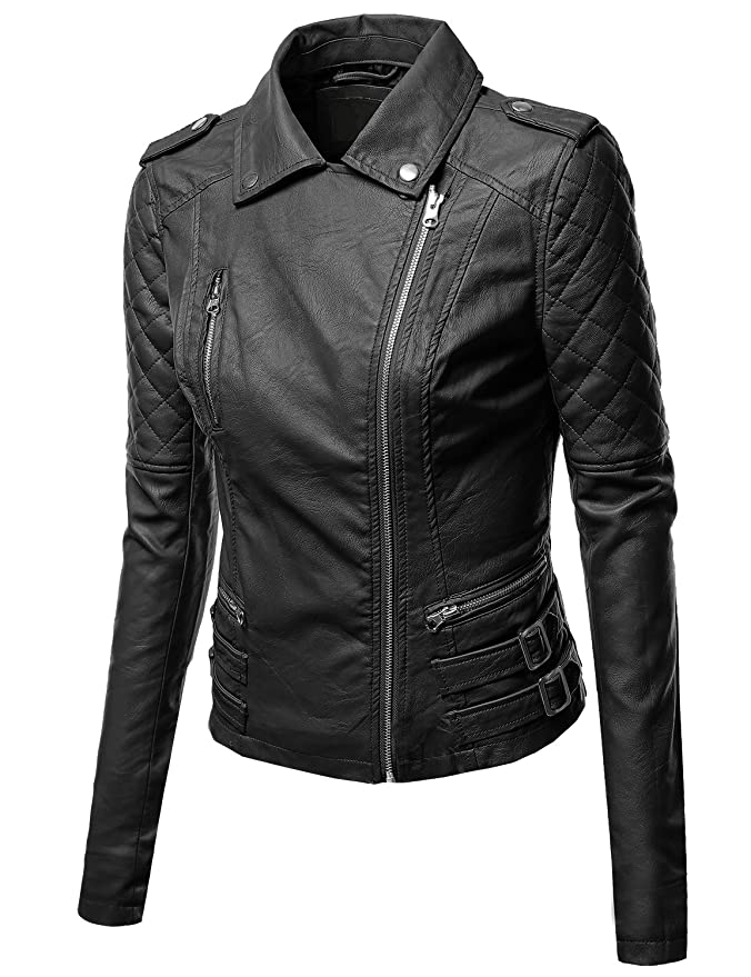 Awesome21 Womens Zipper Motorcycle Biker Faux Leather Jackets