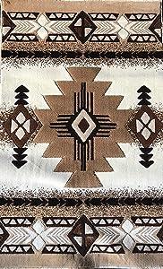 Southwest Native American Door Mat Area Rug Ivory Design#C318 (2ft.x3ft.4in.)