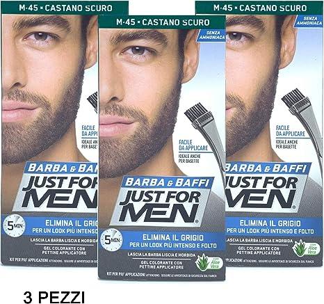 3 x Just For Men Barba y bigote Color permanente con pincel sin amoniaco castaño oscuro M 45 Gel colorante.