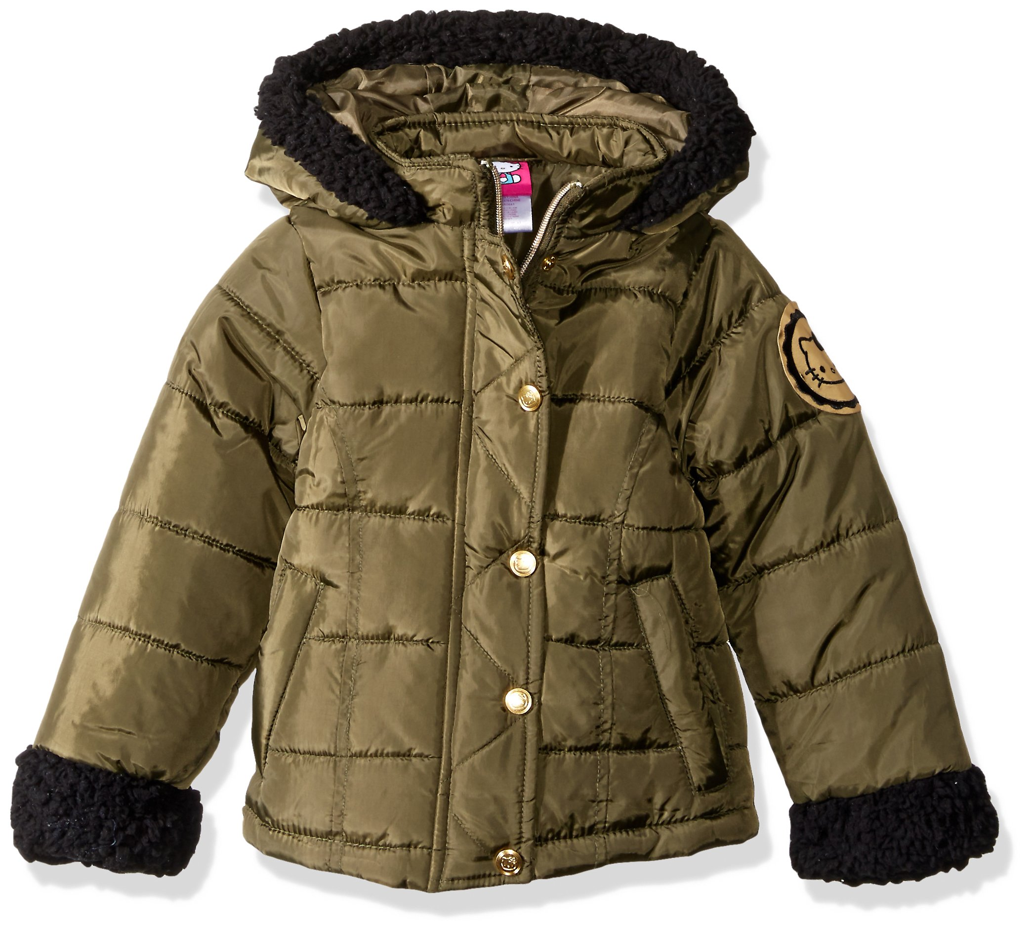 Hello Kitty Big Girls' Puffer Jacket with Sherpa Trim Hood and Sleeves, Olive, 7