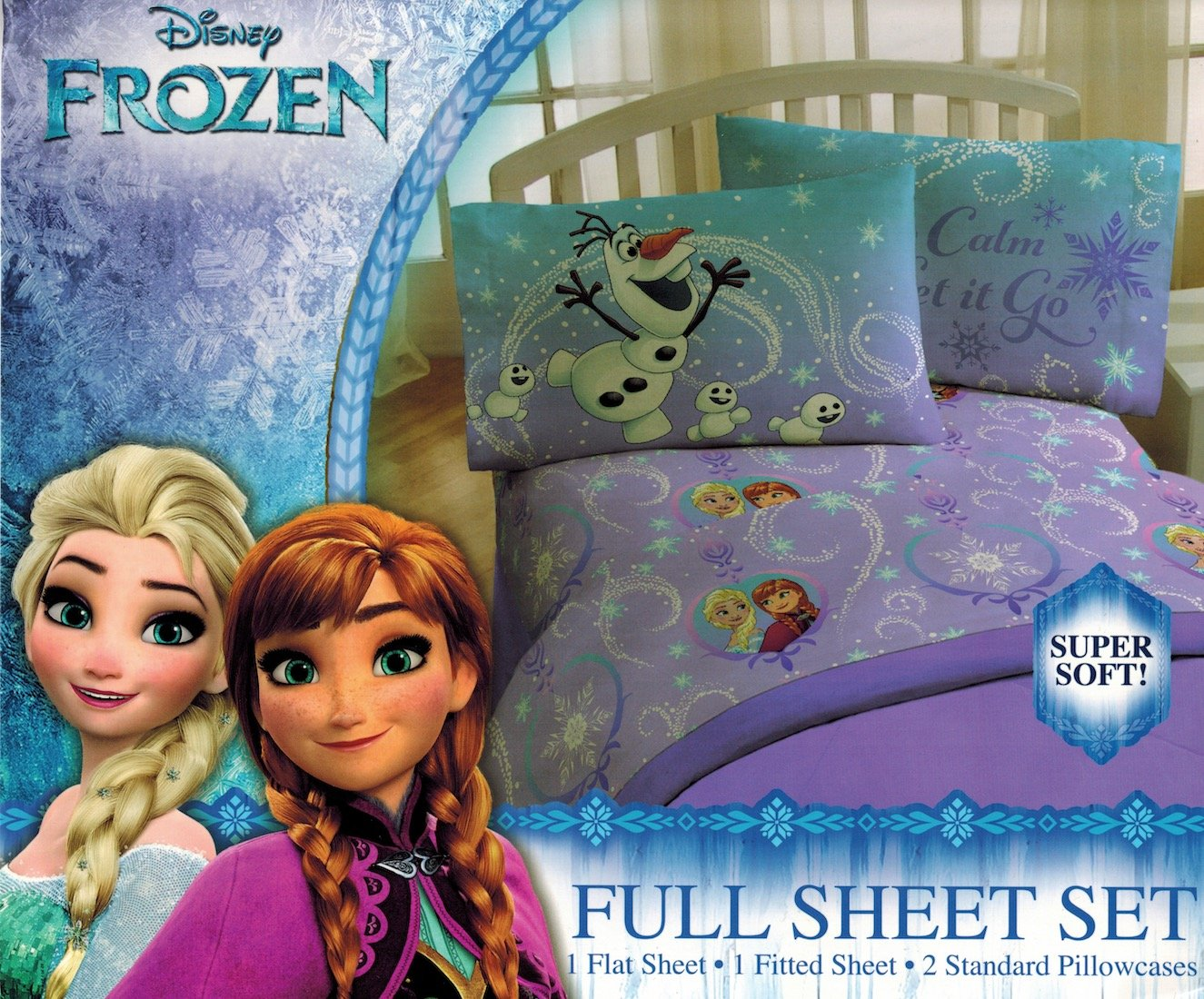 Disney Frozen 'Northern Lights' Sheet Set - Anna and Elsa, Keep Calm and Let it Go - Soft and Comfortable Microfiber Sheets (Full)