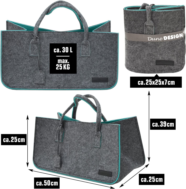 DuneDesign Borsa 50x25x25cm cesta per la Legna Spesa Max 25Kg Grigio Turchesese