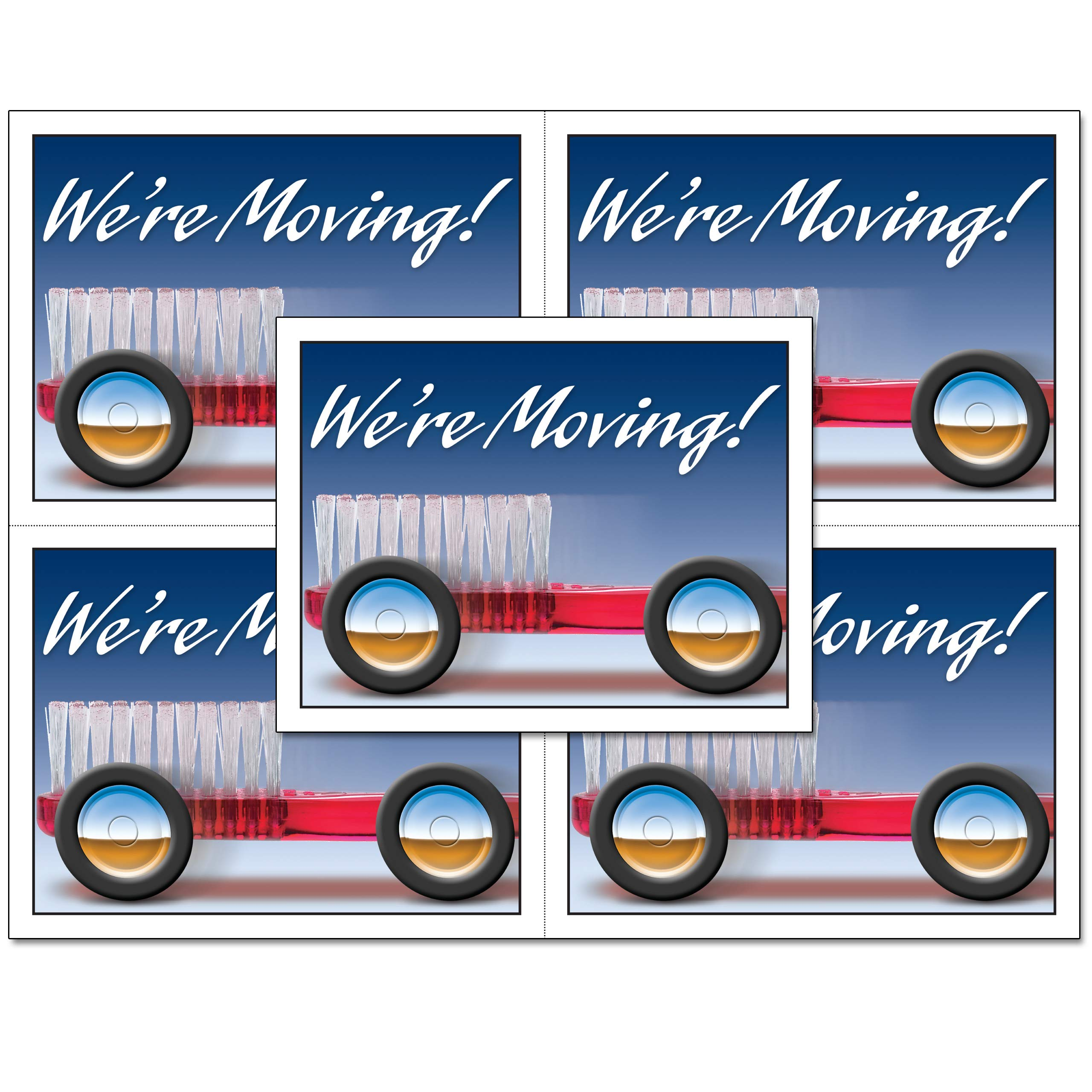 Laser Reminder Moving Notice Postcards, Dental Moving Notice Postcards. 4 Cards Perforated for Tear-Off at 4.25'' x 5.5'' on an 8.5'' x 11'' Sheet of 8 Pt Card Stock. MOV520LZS (1000)
