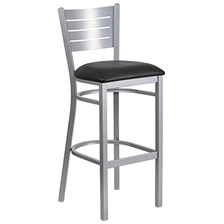 Flash Furniture HERCULES Series Silver Slat Back Metal Restaurant Barstool    Black Vinyl Seat
