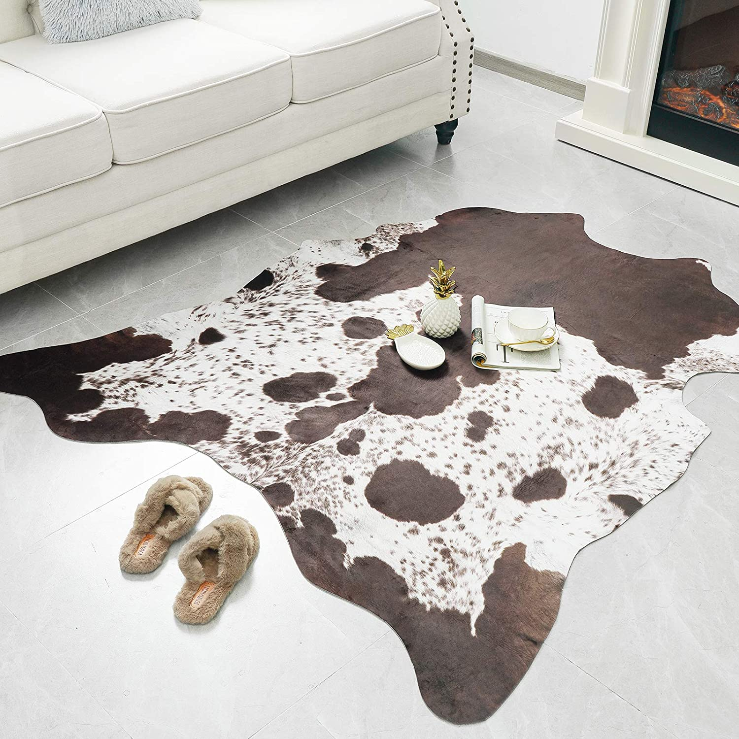 Rostyle Faux Cowhide Rug Cute Cow Hide Rug For Living Room Bedroom Western Home Decor Faux Fur Cow Print Rugs White And Brown 4 6 X 5 2 Feet Kitchen Dining