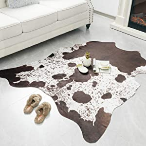 Rostyle Faux Cowhide Rug Cute Cow Hide Rug for Living Room Bedroom Western Home Decor Faux Fur Cow Print Rugs White and Brown, 4.6 x 5.2 Feet