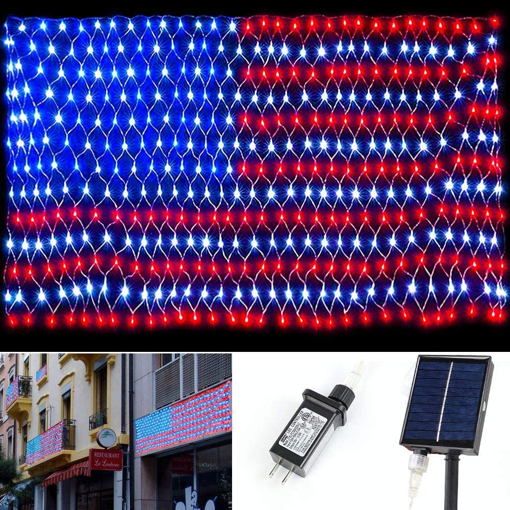 American Flag LED Net Lights - Waterproof Twinkle String Lights Outdoor String Hanging Lights with Solar Panels for Wall Decor 390 Led Lamp Beads