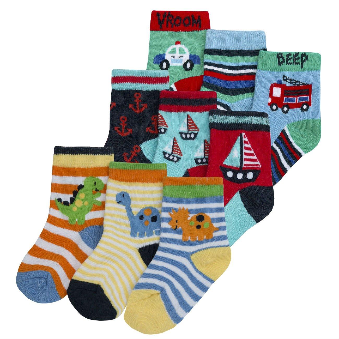 Baby Boys Novelty Socks - Cotton Rich (9 or 18 Pair Multipack) Ankle Metzuyan LTD