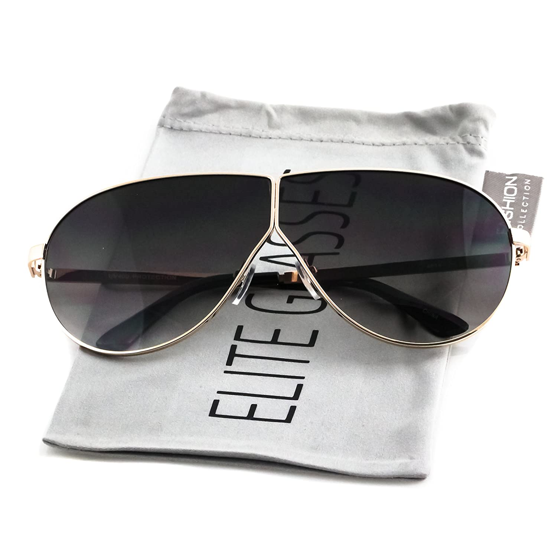 Elite Oversize Flat Top Aviator Retro Shield Oceanic Lens Mens Womens Sunglasses Black - Silver, 71