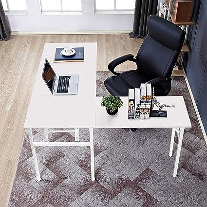 Dland Home L Shaped Desk Large Corner Desk Folding Table Computer Desk Home Office Table Computer Workstation, White Dnd Nd11 Ww by Dland Home